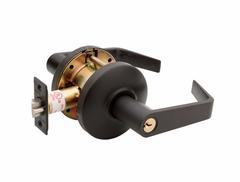 Commercial Non-Handed Grade 2 Security Keyed Entry With Push Button Lever In Oil Rubbed Bronze