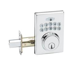 Fashion Electronic Push Button Deadbolt In Polished Stainless