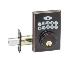 Fashion Electronic Push Button Deadbolt In Tuscan Bronze