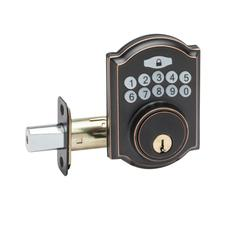 Heritage Electronic Push Button Deadbolt In Tuscan Bronze