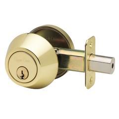 Single Cylinder Deadbolt In Polished Brass
